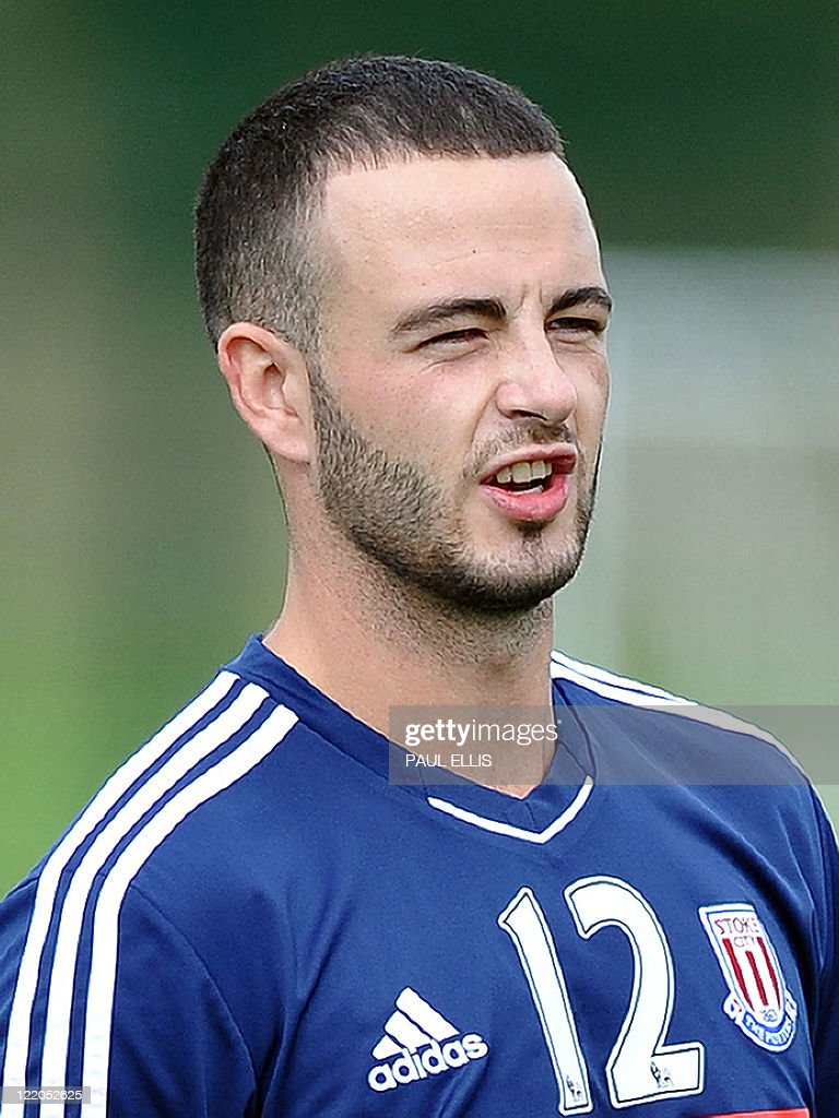 Stoke City's Irish Midfielder Marc Wilson takes part in a training session at their training ground in Stoke-on-Trent, England on August 24, 2011 ahead of their UEFA Europa League football match against FC Thun on August 25.