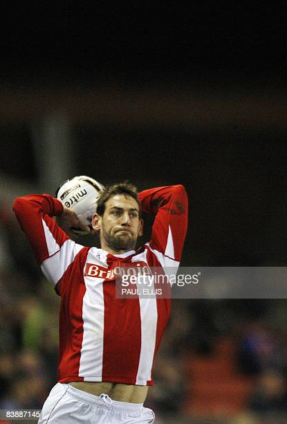 Stoke City's Irish midfielder Rory Delap takes a throwin against Derby County during their English League Cup quarter final football match at The...