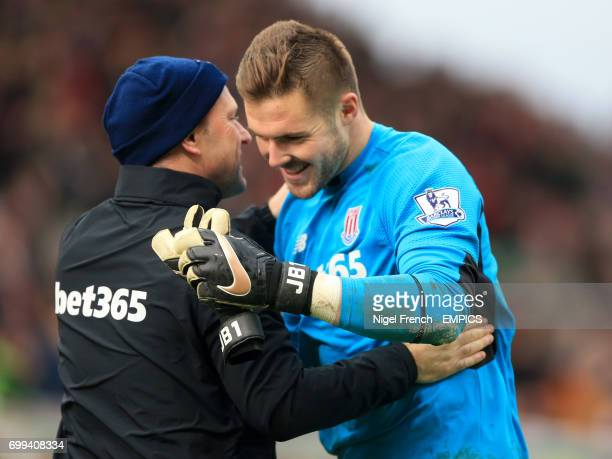 Stoke City's Jack Butland celebrates after the final whistle