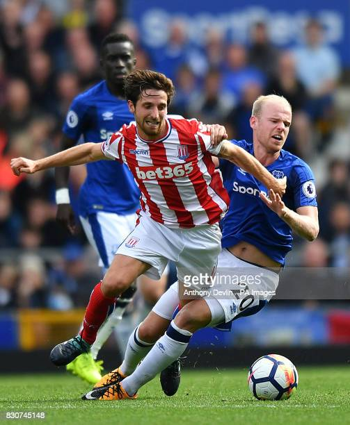 Stoke City's Joe Allen and Everton's Davy Klaassen battle for the ball during the Premier League match at Goodison Park Liverpool