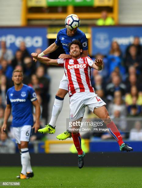 Stoke City's Joe Allen and Everton's Morgan Schneiderlin battle for the ball during the Premier League match at Goodison Park Liverpool