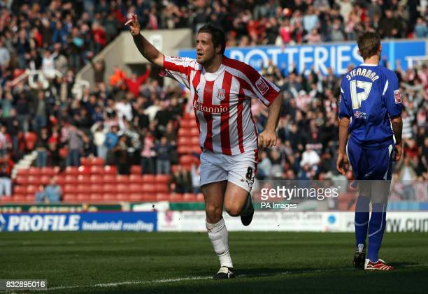Stoke City's Jon Parkin celebrates scoring against Leicester City during the CocaCola Championship match at Britannia Stadium Stoke