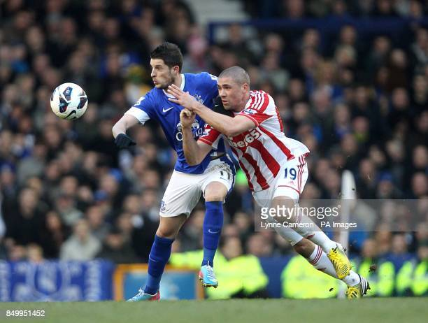 Stoke City's Jonathan Walters and Everton's Kevin Mirallas battle for the ball