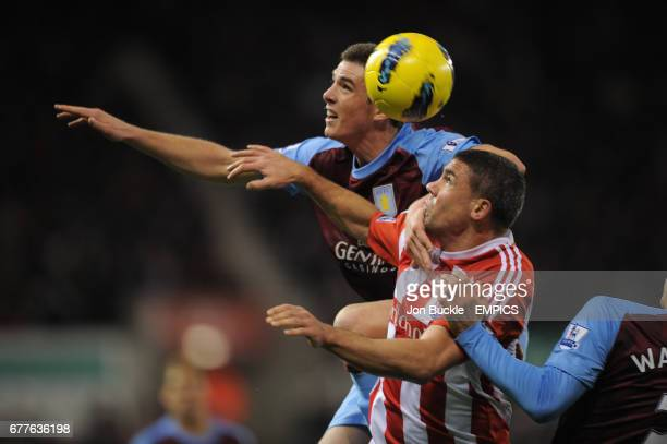 Stoke City's Jonathan Walters is challenged by Aston Villa's Ciaran Clark