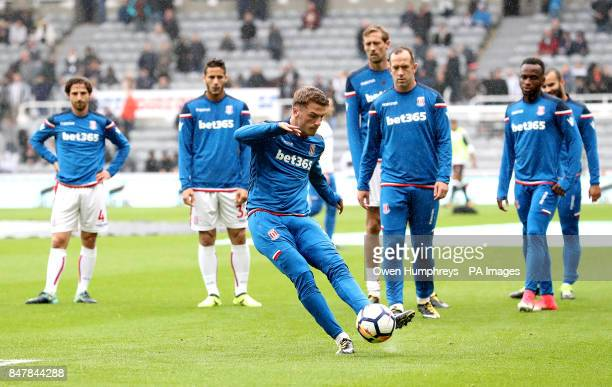Stoke City's Josh Tymon during the warmup before the Premier League match at St James' Park Newcastle