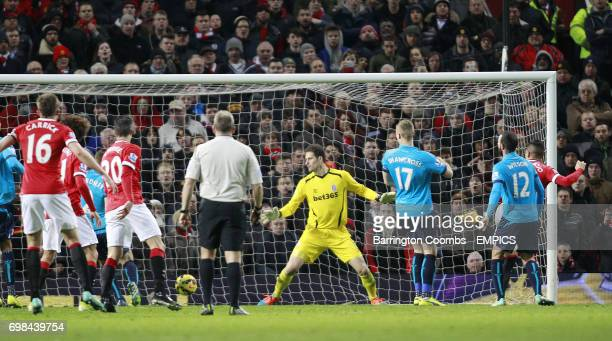 Stoke City's keeper Asmir Begovic can't stop the ball entering the net for the second goal against Manchester United
