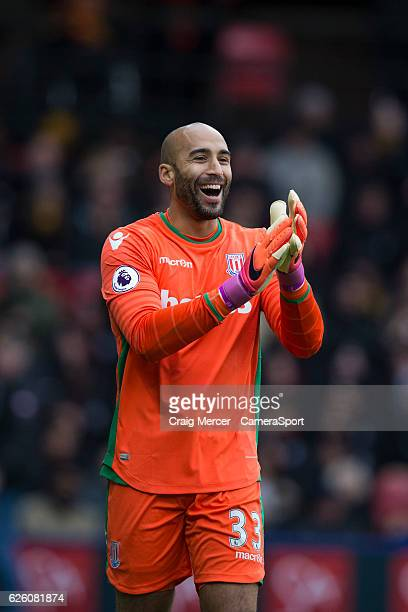 Stoke City's Lee Grant reacts during the Premier League match between Watford and Stoke City at Vicarage Road on November 27 2016 in Watford England
