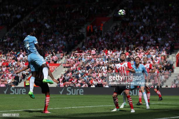 Stoke City's Mame Biram Diouf rises well to direct a head towards goal during the Premier League match at St Mary's Stadium Southampton