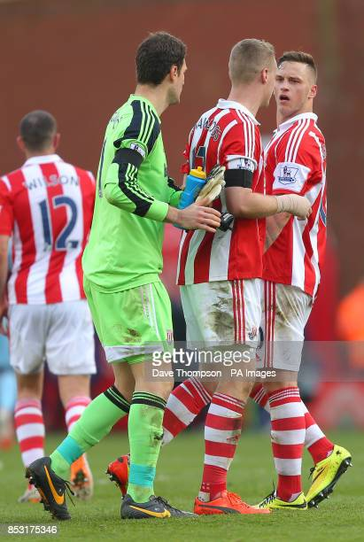Stoke City's Marko Arnautovic and Ryan Shawcross exchange words at the end of the Barclays Premier League match at the Britannia Stadium Stoke