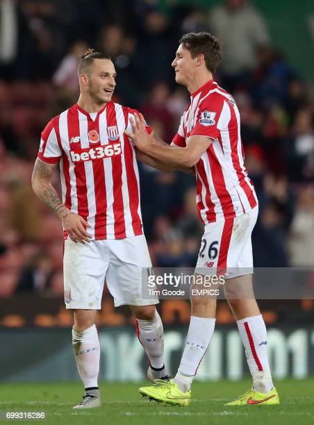 Stoke City's Marko Arnautovic celebrates after the final whistle with teammate Philipp Wollscheid