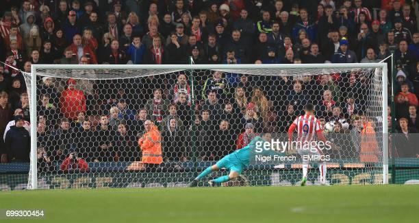 Stoke City's Peter Odemwingie scores his penalty past Chelsea goalkeeper Asmir Begovic