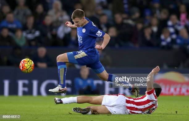 Stoke City's Peter Odemwingie tackles Leicester City's Marc Albrighton
