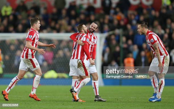 Stoke City's Phil Bardsley celebrates scoring the 2nd goal against Sheffield Wednesday with his team mates