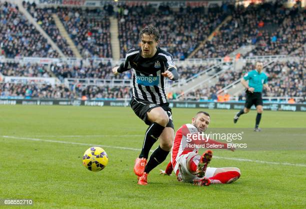 Stoke City's Phil Bardsley tackles Newcastle United's Daryl Janmaat
