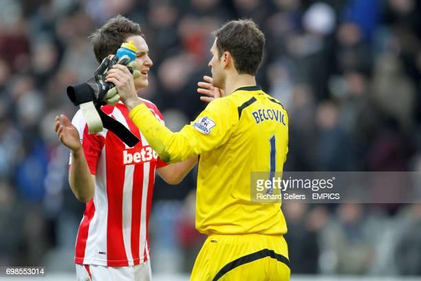 Stoke City's Philipp Wollscheid and Asmir Begovic celebrate the draw