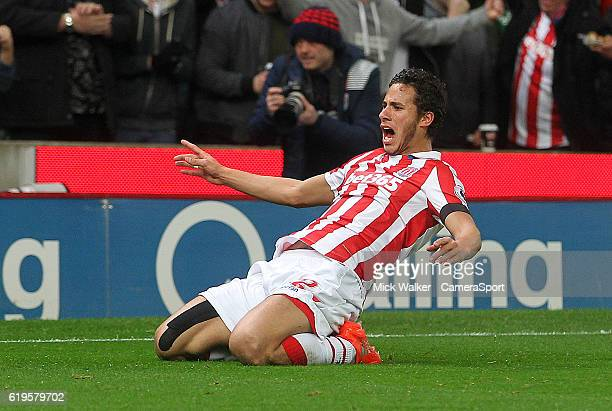 Stoke City's Ramadan Sobhi celebrates his part in the Swansea City's Alfie Mawson own goal during the Premier League match between Stoke City and...