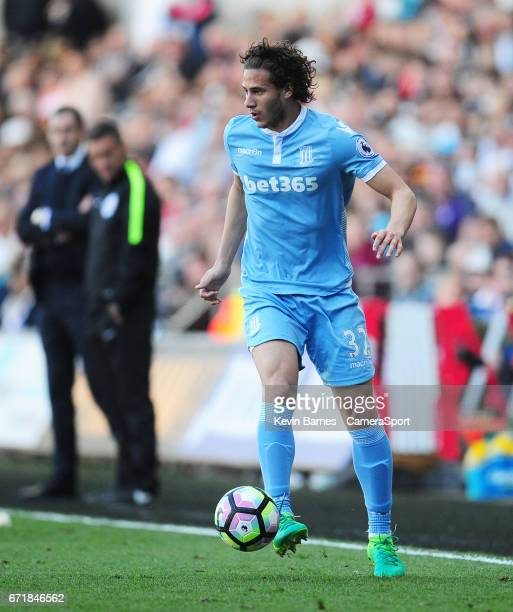 Stoke City's Ramadan Sobhi during the Premier League match between Swansea City and Stoke City at Liberty Stadium on April 22 2017 in Swansea Wales