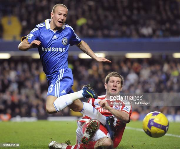 Stoke City's Richard Cresswell fouls and Chelsea's Miroslav Stoch