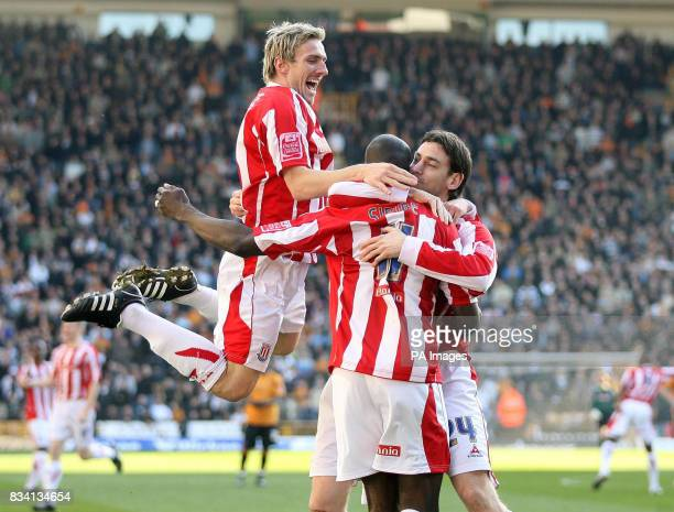 Stoke City's Rory Delap celebrates scoring against Wolverhampton Wanderers with team mate Paul Gallagher Liam Lawrence and Mamady Sidibe during the...
