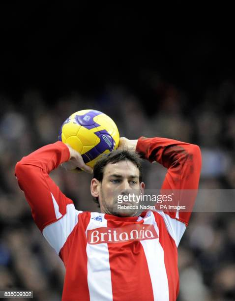 Stoke City's Rory Delap during the Barclays Premier League match at Stamford Bridge London