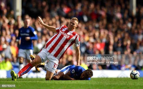 Stoke City's Ryan Shawcross and Everton's Dominic CalvertLewin in action during the Premier League match at Goodison Park Liverpool