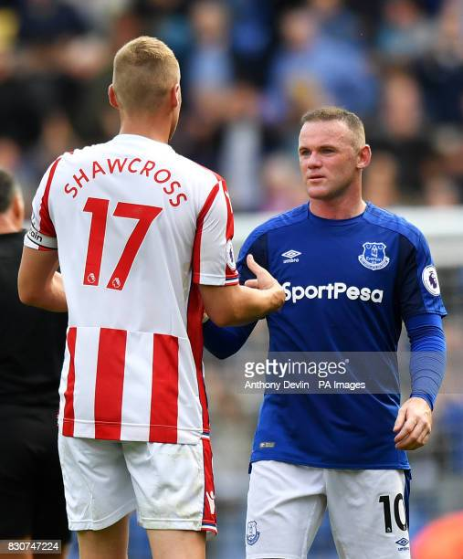 Stoke City's Ryan Shawcross and Everton's Wayne Rooney shake hands after the Premier League match at Goodison Park Liverpool