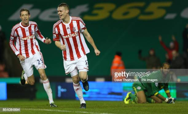 Stoke City's Ryan Shawcross celebrates scoring during the Barclays Premier League match at the Britannia Stadium Stoke on Trent