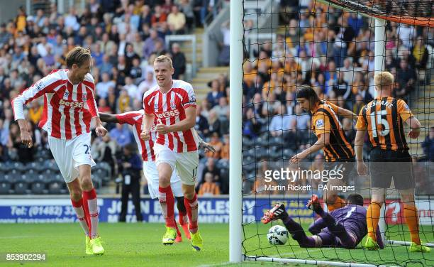 Stoke City's Ryan Shawcross celebrates scoring his teams 1st goal against Hull City during the Barclays Premier League match at the KC Stadium Hull