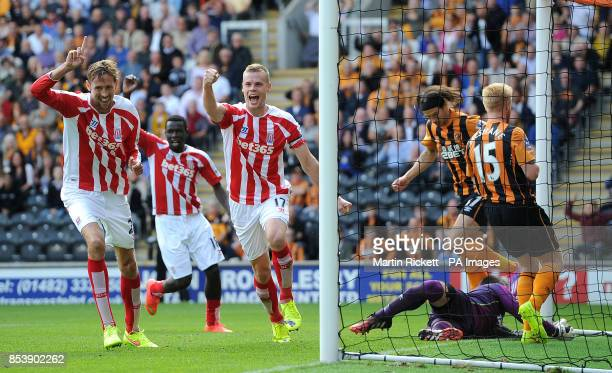 Stoke City's Ryan Shawcross celebrates scoring his teams first goal against Hull City during the Barclays Premier League match at the KC Stadium Hull