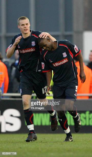 Stoke City's Ryan Shawcross congratulates Leon Cort during the CocaCola Championship match at Bloomfield Road Blackpool