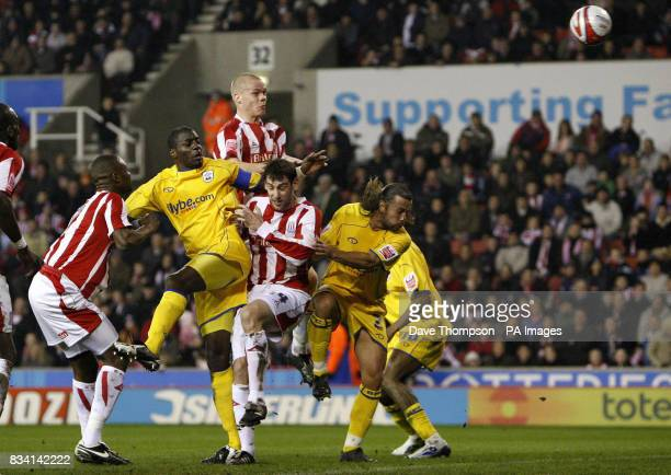 Stoke City's Ryan Shawcross jumps to score during the CocaCola Championship match at the Britannia Stadium Stoke