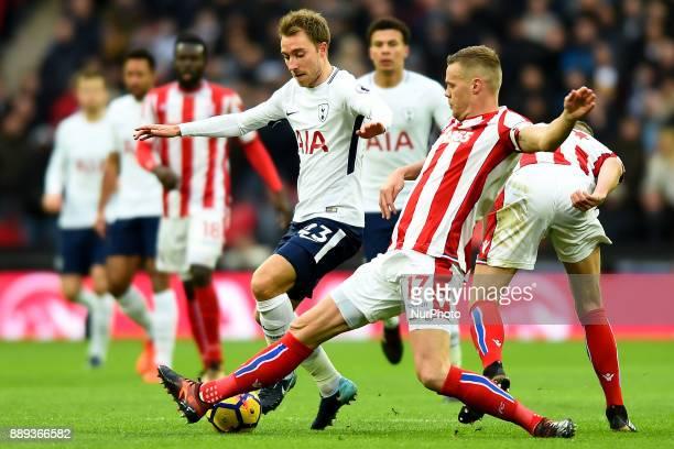 Stoke Citys Ryan Shawcross puts a boot in on Christian Eriksen of Tottenham during Premier League match between Tottenham Hotspur against Stoke City...