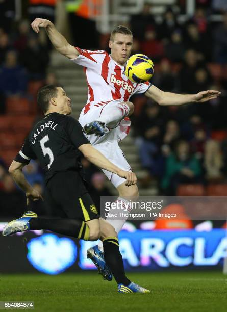 Stoke City's Ryan Shawcross scores during the Barclays Premier League match at the Britannia Stadium Stoke on Trent