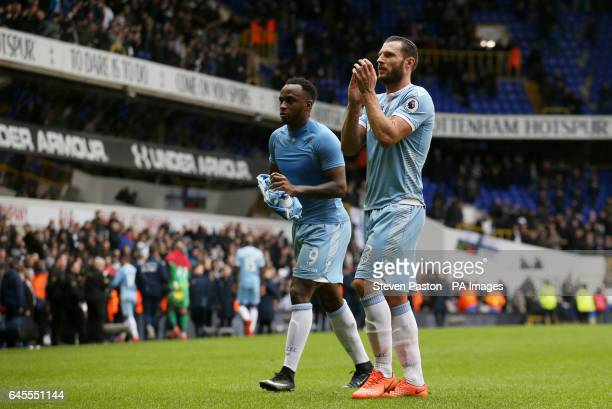 Stoke City's Sadio Berahino and Erik Pieters applaud the fans at full time of the Premier League match at White Hart Lane London