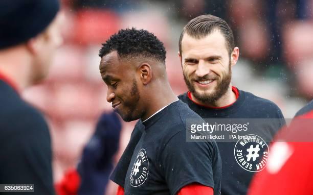 Stoke City's Saido Berahino and Erik Pieters warming up before the game