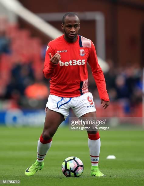 Stoke City's Saido Berahino before the Premier League match at the bet365 Stadium Stoke