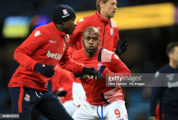Stoke City's Saido Berahino during the Premier League match at the Etihad Stadium Manchester