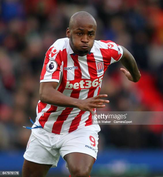 Stoke City's Saido Berahino during the Premier League match between Stoke City and Middlesbrough at Bet365 Stadium on March 4 2017 in Stoke on Trent...
