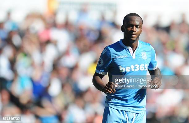 Stoke City's Saido Berahino during the Premier League match between Swansea City and Stoke City at Liberty Stadium on April 22 2017 in Swansea Wales