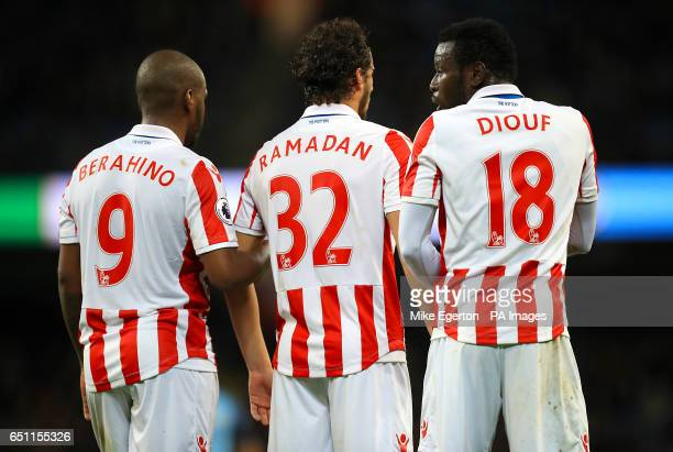 Stoke City's Saido Berahino Stoke City's Ramadan Sobhi and Stoke City's Mame Biram Diouf