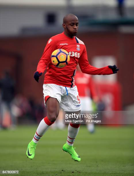 Stoke City's Saido Berahino warms up before the Premier League match at the bet365 Stadium Stoke