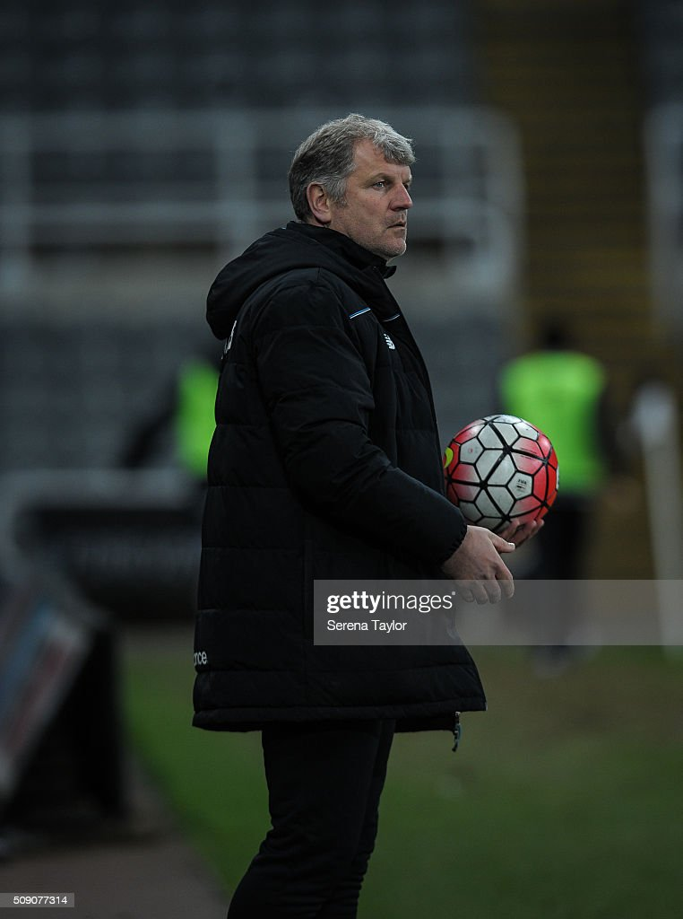 Stoke City's Senior Professional development Coach Glyn Hodges holds a football during the Barclays Premier League U21 match between Newcastle United and Stoke City at St.James' Park on February 8, 2016, in Newcastle upon Tyne, England.