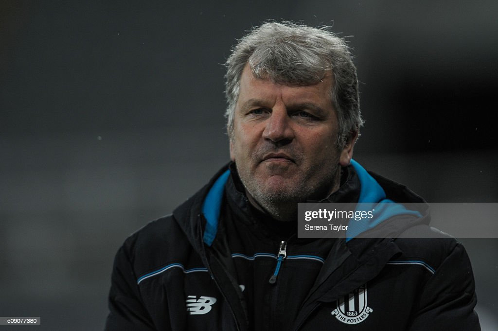 Stoke City's Senior Professional development Coach Glyn Hodges looks on during the Barclays Premier League U21 match between Newcastle United and Stoke City at St.James' Park on February 8, 2016, in Newcastle upon Tyne, England.