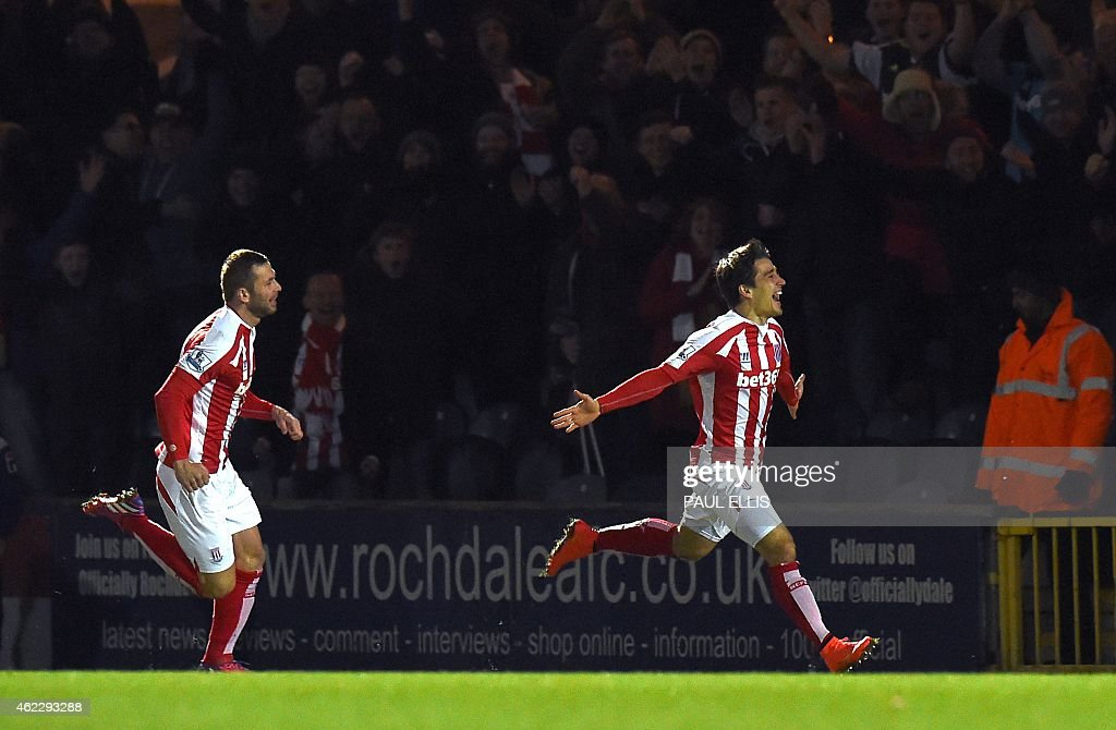 Stoke City's Spanish striker Bojan Krkic celebrates scoring the opening goal during the English FA Cup fourth round football match between Rochdale...