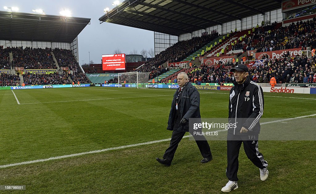 "Stoke City's Welsh manager Tony Pulis (R) arrives ahead of the English Premier League football match between Stoke City and Southampton at The Britannia stadium, Stoke-on-Trent, England, on December 29, 2012. The game ended 3-3. USE. No use with unauthorized audio, video, data, fixture lists, club/league logos or ""live"" services. Online in-match use limited to 45 images, no video emulation. No use in betting, games or single club/league/player publications."