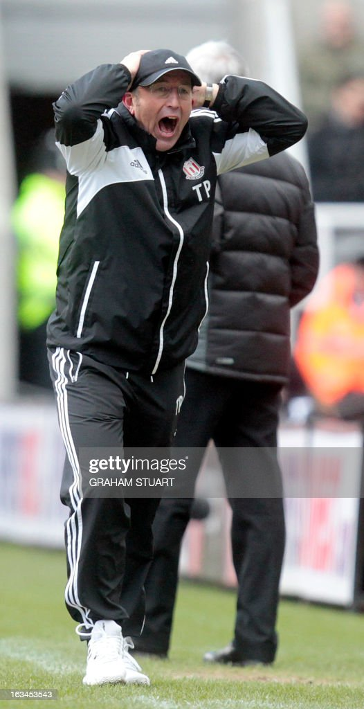"""Stoke City's Welsh manager Tony Pulis reacts during the English Premier League football match between Newcastle United and Stoke City at St James' Park in Newcastle Upon Tyne, northeast England, on March 10, 2013. USE. No use with unauthorized audio, video, data, fixture lists, club/league logos or """"live"""" services. Online in-match use limited to 45 images, no video emulation. No use in betting, games or single club/league/player publications."""