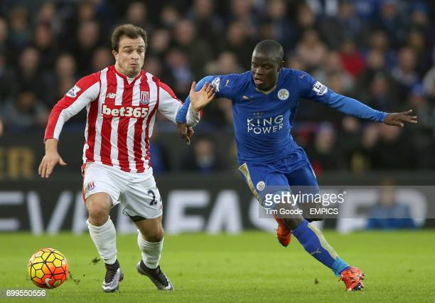 Stoke City's Xherdan Shaqiri and Leicester City's N'Golo Kante battle for the ball