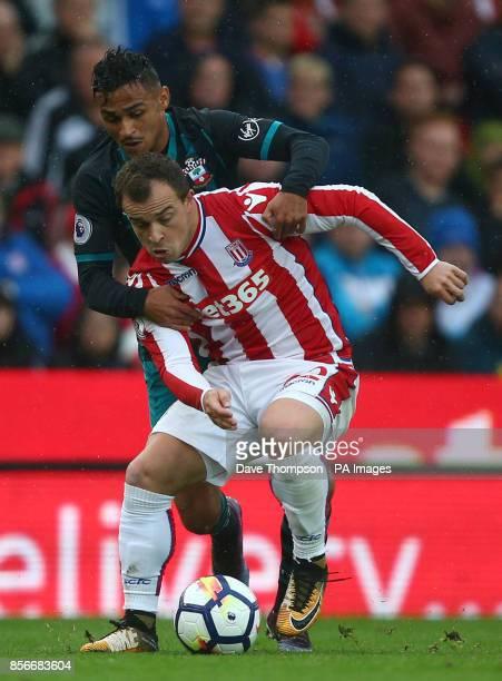 Stoke City's Xherdan Shaqiri and Southampton's Sofiane Boufal during the Premier League match at the bet365 Stadium Stoke