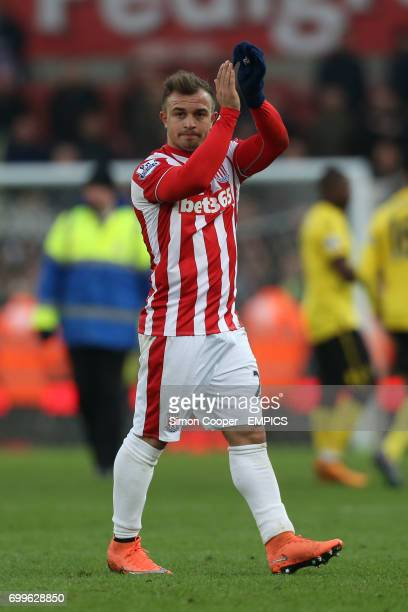Stoke City's Xherdan Shaqiri applauds the fans after the final whistle