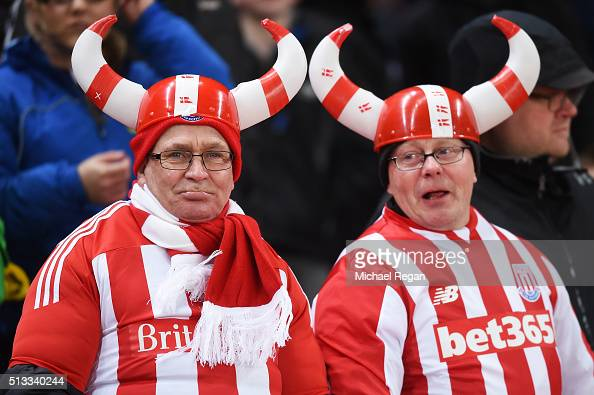 Stoke fans look on during the Barclays Premier League match between Stoke City and Newcastle United at the Britannia Stadium on March 2 2016 in Stoke...